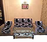 SILVER LIGHT POLYCOTTON SILVER BLACK SOFA SLIPCOVER SET