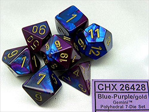 Chessex Manufacturing Cube Gemini Set Of 7 Dice - Blue & Purple With Gold Numbering CHX-26428 - 1