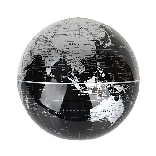 "Magnetic Levitation Floating World Map Globe, 8"" Rotating Planet Earth Globe Ball with LED Desk Display Stand -Elegance Levitation Globe Gift for Kids Home Office[Black] 4"