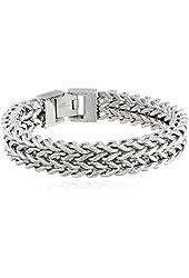 "Men's Stainless Steel Two-Strand Wheat Chain Bracelet, 8.5"""
