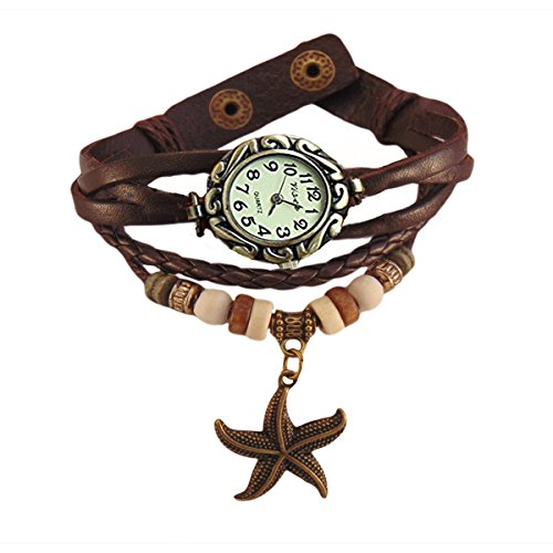 Habors Multiband Watch Brown Bracelet With Star Charms