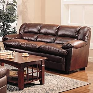 Coaster Harper Sofa in Rich Brown Leather