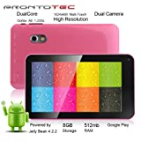 Prontotec 7 Inch HD 1024x600 Capacitive Touch Screen Tablet PC DDR 512MB - ROM 8GB - Dual Core Android 422 - Dual Camera - Wi-fi - G-sensor Pink