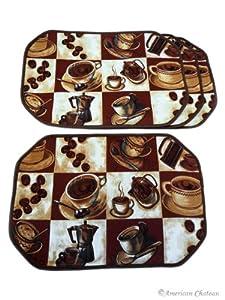 Set 4 Piece Coffee Placemats Espresso Latte Decor Table Cafe Kitchen Place Mats