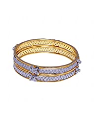 Beautiful Pair Of Bangles Made In Silver Alloyed Metal Studded With A.D Stones