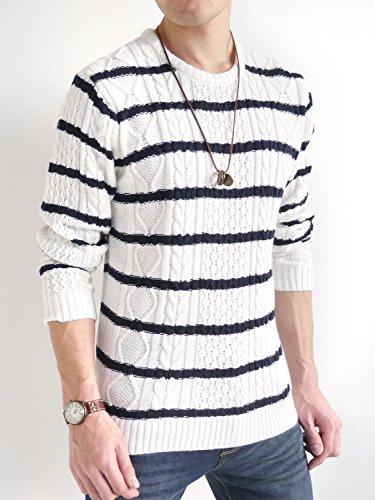 (オークランド) Oakland フィッシャーマン ケーブル編み ニット セーター プルオーバー ゆる シルエット カジュアル 品質 モード メンズ ホワイト+ネイビー Lサイズ