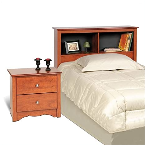 Prepac Monterey Cherry Twin Bookcase Headboard 2 Piece Bedroom Set