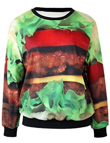Raisevern Realistic Hamburger Printed Casual Long Sleeve Sweater Sweatshirts