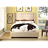 Furniture of America Bellavie Wingback Platform Bed with Button-Tufting, Queen, Ivory