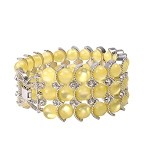 Jane Stone Yellow Bead Scaly Bracelet Fashion Beautiful Crystal Jewelry Bridesmaids Gift Statement Jewelry Modern Nightclub Bracelet(B0278-Yellow)