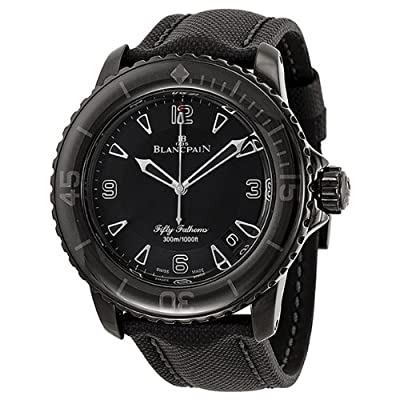 Blancpain Fifty Fathoms Black Dial Black PVD Stainless Steel Fabric Automatic Mens Watch 5015-11C30-52