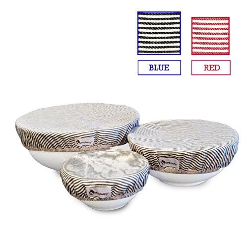 Earth Bunny Fabric Bowl Covers - Blue Stripes | Set of 3 - Small, Medium, Large | 100% Cotton Cloth with Elastic Edging | Eco Friendly, Washable and Reusable (Flying Pan Lid compare prices)