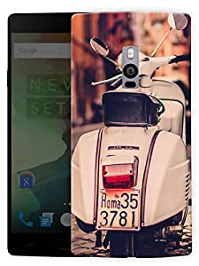 """Humor Gang Vintage Scooter Scenery Printed Designer Mobile Back Cover For """"OnePlus Two"""" By Humor Gang (3D, Matte Finish, Premium Quality, Protective Snap On Slim Hard Phone Case, Multi Color)"""