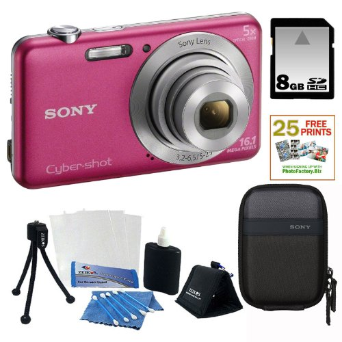 Sony DSC-W710/P 16 MP Digital Camera with 2.7-Inch LCD (Pink) + 8GB Memory Card + Sony Camera Case + Accessory Kit