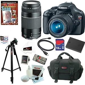 Canon EOS Rebel T3 SLR Digital Camera w/ 18-55mm & 75-300mm Ultimate Rebel Ex...