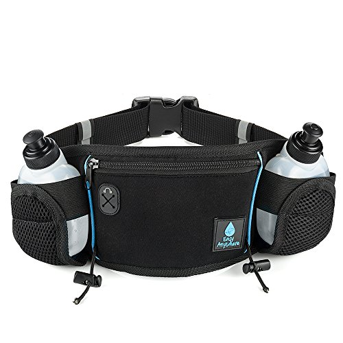 Hydration Belt for Running - Fits All Large Smartphones, including the IPHONE 6 PLUS - 2 BPA-Free Water Bottles - Water Resistant, Lightweight Material - Running Belt with Separate Pouch for Running Accessories