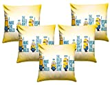 Royalina Cute Minions Kids Digital Printed Cushion Cover Set-16 inch X 16 inch