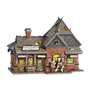 #!Cheap Department 56 Snow Village Halloween Rickety Railroad Station