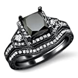 2.0ct Black Princess Cut Diamond Engagement Ring Bridal Set 14k Black Gold