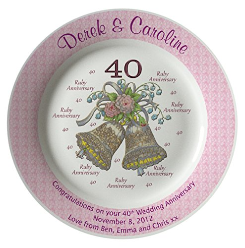 Personalized Bone China Commemorative Plate For A 60th Wedding Anniversary - Wedding Bells Design With A Pink Rim