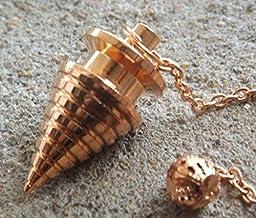Brass copper plated disc cone metal healing dowsing pendulum