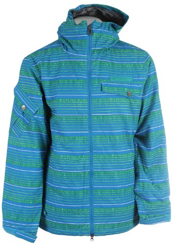 686 Mannual Etch Insulated Snowboard Jacket Bluebird Stripe Mens Sz XL