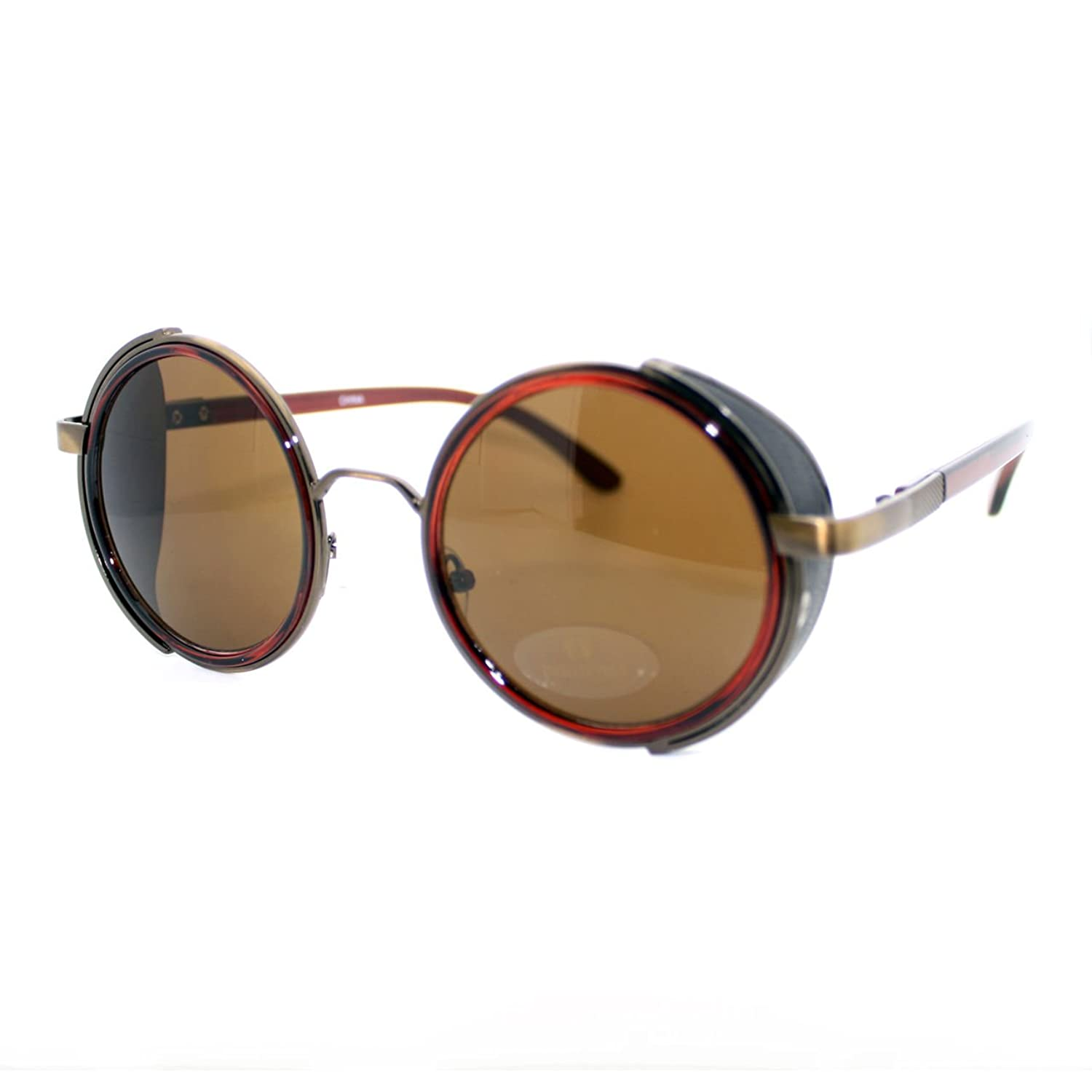 Vintage Round Circle Sunglasses Studio Cover Side Shield Frame vintage round frame english letters cute sunglasses fashion and personality cross my heart