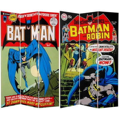 Oriental Furniture 6-Feet Tall Double Sided Batman Canvas Room Divider