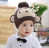【Petit Cadeau】 お猿さん ニット帽 かわいい 暖か帽子 子ども用 防寒グッズ Mサイズ 年賀状 の 家族写真 や プレゼントにも♪ 《Mサイズ》