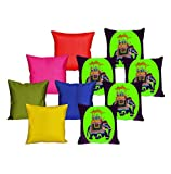 meSleep 5 Pc Elephant Digital Cushion Cover and 5 Pc Multi Quilted Cushion Cover