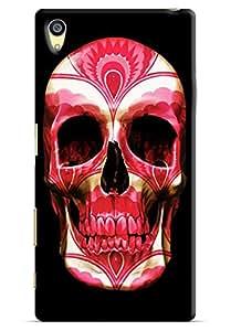 Omnam Red Face Skelton On Black Background Printed Designer Back Cover Case For Sony Xperia Z5 Premium