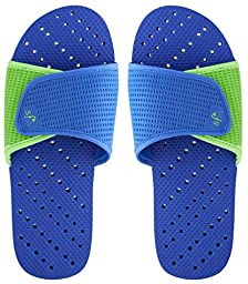 Showaflops Men\'s Antimicrobial Shower & Water Sandals - Royal Blue/Green Slide 11/12