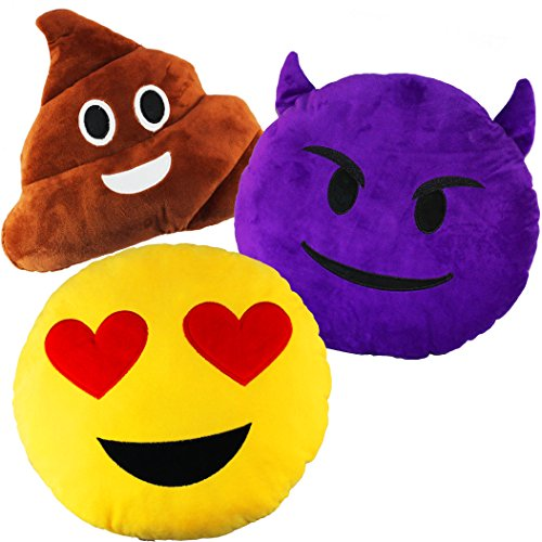 Joyin-Toy-3-Pack-of-125-Inches-Emoji-Smiley-Emotion-Plush-Cushion-Pillow-Stuffed-Plush-With-1-Poop-Face-1-Heart-Eye-and-1-Devil-Face-3-Pack