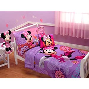 minnie mouse ensemble de literie tout petit purple 4 en 1 set couette drap housse drap. Black Bedroom Furniture Sets. Home Design Ideas