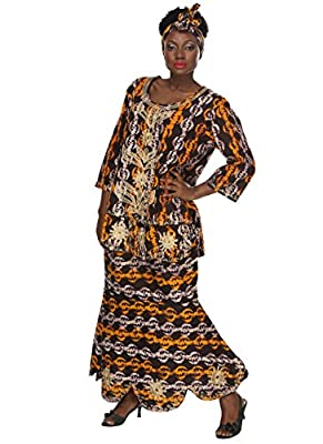 African Planet Women's Printed Wax Drawstring Flared Skirt Tribal Brown Ankara