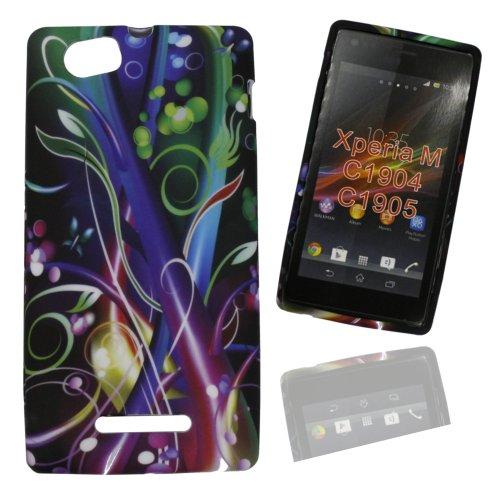 Jelly Case Silikoncase Hülle Etui Handytasche Handykondom Back Cover mit BLUMENMUSTER / FLOWER / SPACE in schwarz für Samsung Galaxy Trend GT-S7560 / Duos GT-S7562 / Plus GT-S7580 inkl. World-of-Technik Touchpen