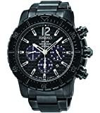 New Seiko SSC225 Solar Black Ion Stainless Steel Chronograph Men's Watch