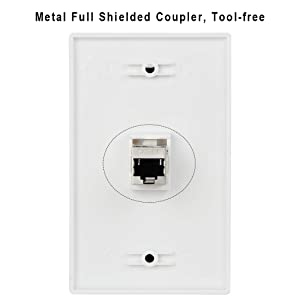 Wi4You Cat6 Wall Plate 1 Port, 1gang White RJ45 Keystone Wall Plate + Low Voltage Mounting Bracket + Female CAT6A Full Shielded Coupler for Internet Devices Wiring Connections (CAT6A-1port, 2pack) (Color: Cat6A-1 Port+Mounting Bracket; 2pack)