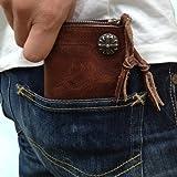ビンテージ本牛革リアルレザーコンチョ付二つ折財布ウォレット