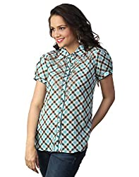 LOVE FROM INDIA TEAL CHECKS PRINTED SHIRT_383_TEAL_S