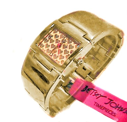 BETSEY JOHNSON BJ00042-02 Gold Tone Hearts Women's Bangle Stainless Steel Bracelet Watch