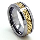 Blue Chip Unlimited – Unique 8mm Tungsten Carbide Unisex Band with 18k Gold Plated Celtic Dragon Inlay Wedding Band Engagement Ring Fashion Jewelry (Available in Whole & Half Sizes 4-16)