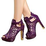 Getmorebeauty Women's Pretty Lace Flowers Open Toes High Heels Ankle Boots (8 B(M) US, Purple)