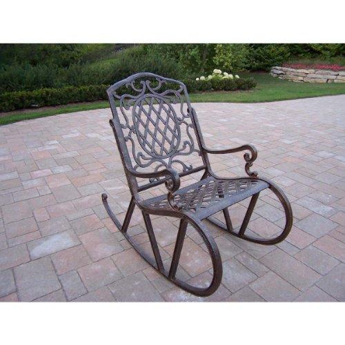 Oakland Living Mississippi Cast Aluminum Rocking Chair, Antique Bronze front-947091