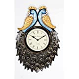 "Home And Bazaar Traditional Rajasthani Wall Clock With Multi Colour Finish Peacock Design 12""x18"""