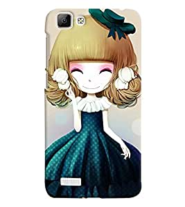 Printvisa Sweet Girlin Green Back Case Cover for vivo V1