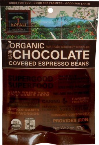 Kopali Organics Chocolate Espresso Beans, 2-Ounce Pouches (Pack of 6)