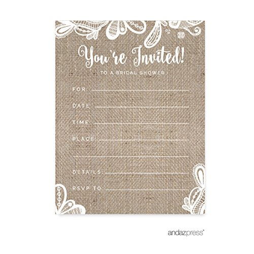 Andaz Press Burlap Lace Wedding Collection, Blank Bridal Shower Invitations with Envelopes, 20-Pack