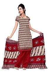 Fabgruh Presents Cotton Jacquard Dress Material(Red,Multi)