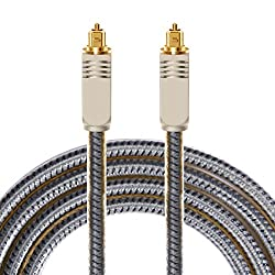 Antaprcis Gold Plated Toslink Digital Optical Audio Cable with Metal Connectors and Braided Jacket 6 Feet Silver